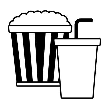 pop corn ad soda cinema movie vector illustration