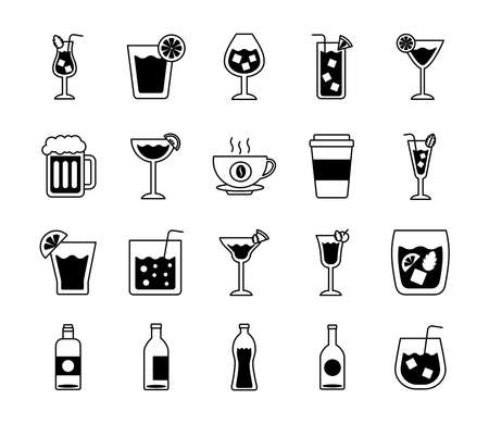 bundle of drinks collection set icons vector illustration design Vector Illustration