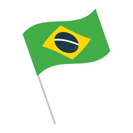 brazil flag symbol on flagpole on white background vector illustration