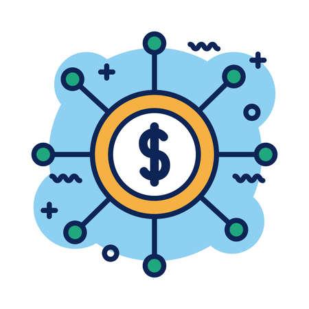 coin dollar symbol detail style icon vector illustration design