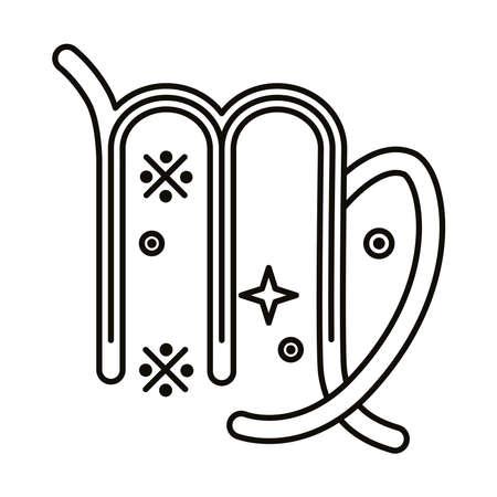virgo zodiac sign symbol line style icon vector illustration design