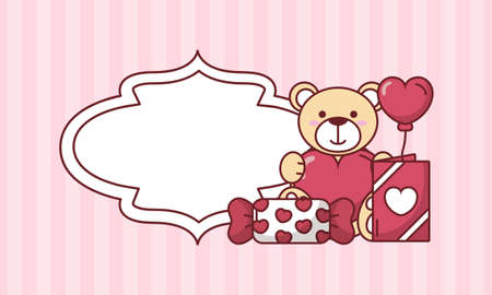 Teddy bear with heart balloon and candy design of Valentines day love and passion theme Vector illustration Vektoros illusztráció