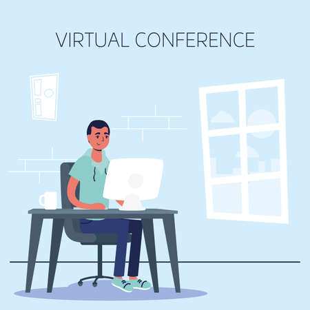 man using desktop in virtual conference communication vector illustration design