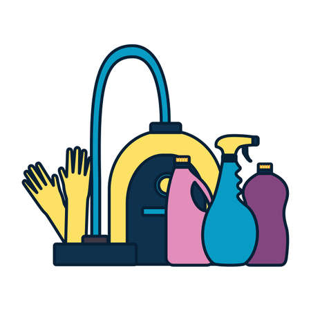 vacuum gloves products spring cleaning tools vector illustration