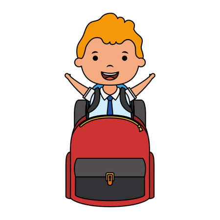 cute blond student boy with schoolbag character vector illustration design