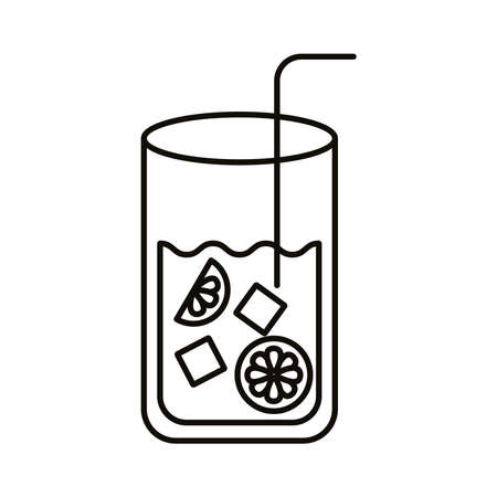 lemonade juice with ice cubes line style vector illustration design