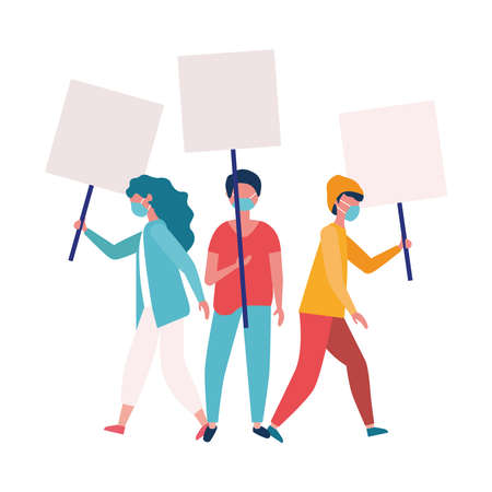 people with medical masks and banners boards design, Manifestation protest and demonstration theme Vector illustration