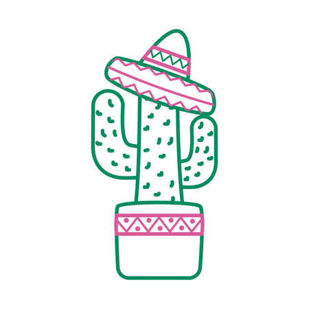 cactus mexican plant with hat line style vector illustration design