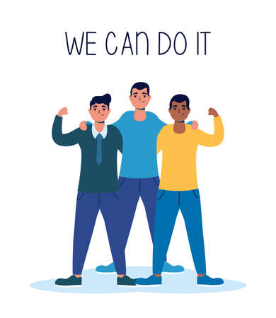 group of interracial men we can do it message vector illustration design