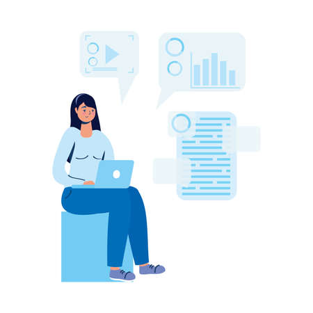 young woman using laptop and social media vector illustration design