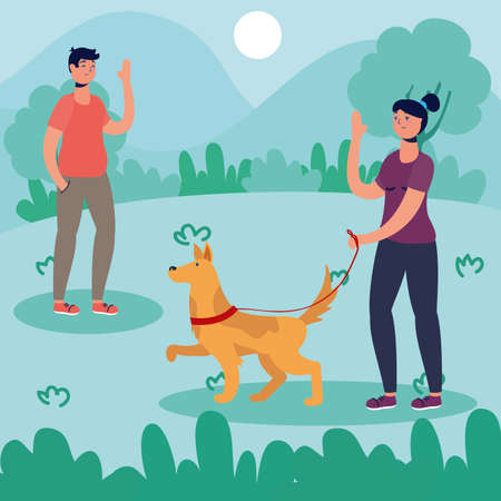 couple walking dog activity characters vector illustration design