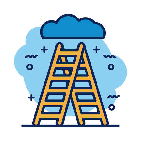 stairs up with cloud detail style icon vector illustration design