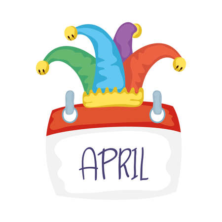jester hat with calendar fools day accessory vector illustration design