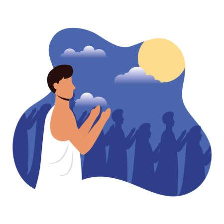 Hajj pilgrimage with muslim people scene vector illustration design