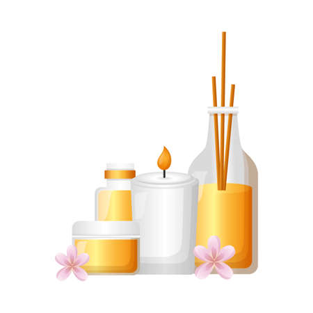aromatherapy sticks candle gel tube spa treatment therapy vector illustration Ilustração