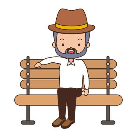 old man sitting on bench white background vector illustration