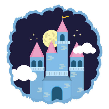 kingdom castle fantasy night sky vector illustration design