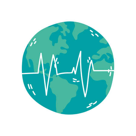 world planet earth with cardio line vector illustration design