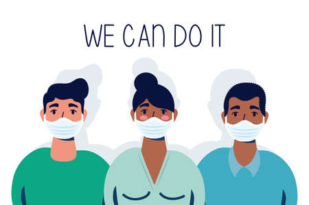 group of interracial people with we can do it message vector illustration design