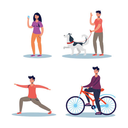 group of people practicing activities characters vector illustration design