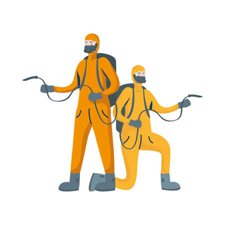 men cleaners with biosafety suits characters vector illustration design