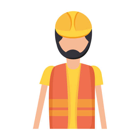 worker construction with helmet and vest vector illustration