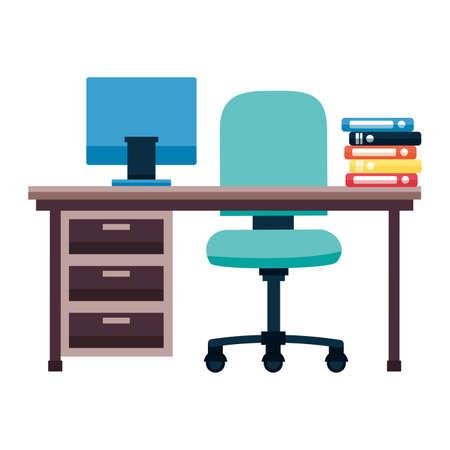 office desk books chair drawers laptop vector illustration Ilustração