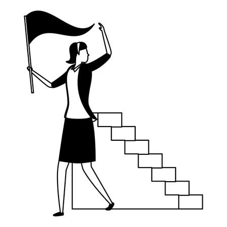 businesswoman flag ladders business success vector illustration