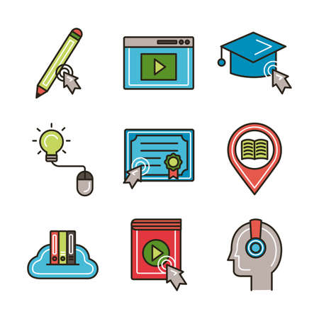 bundle of education online set icons vector illustration design