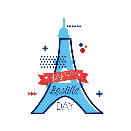 eiffel bastille day lettering flat style vector illustration design 向量圖像