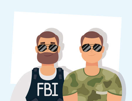 young man with beard fbi agent and military vector illustration design Vectores