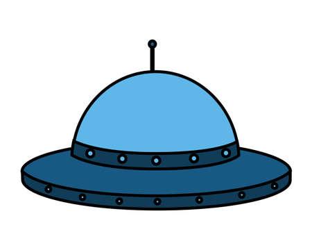 ufo space ship on white background vector illustration Illusztráció