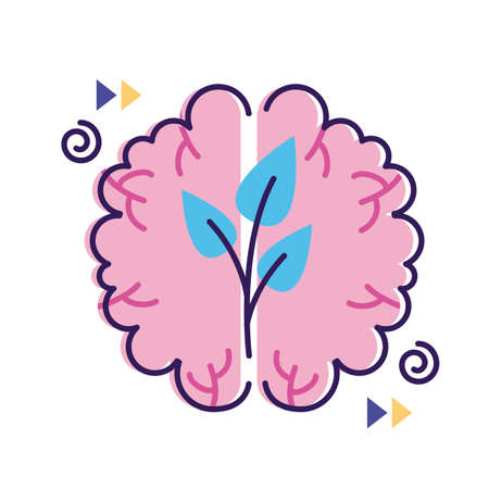 brain with plant mental health flat style icon vector illustration design Vettoriali