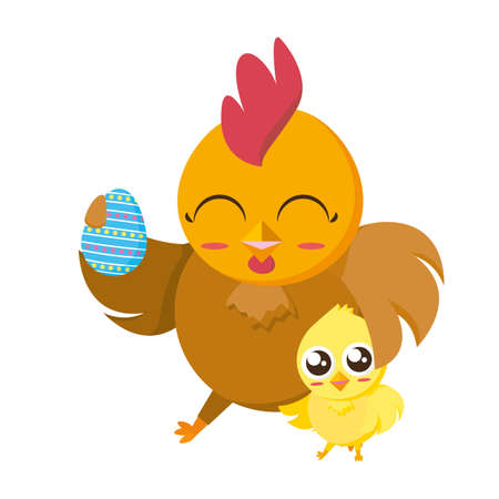 beautiful hen with egg painted and chick character illustration design