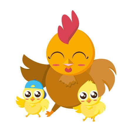 beautiful hen with little chicks easter characters illustration design