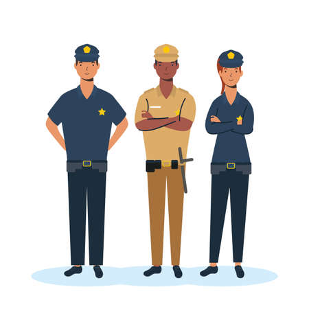 security group of essential workers characters vector illustration design
