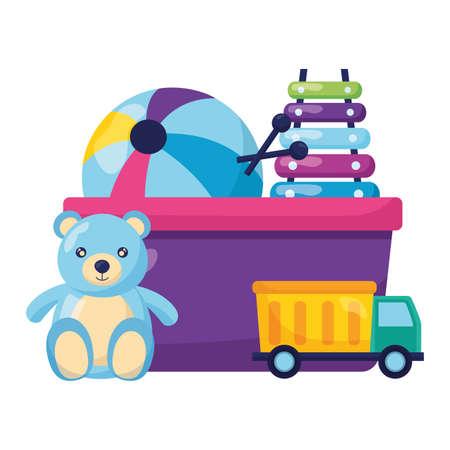 bear xylophone truck ball kids toys vector illustration Векторная Иллюстрация