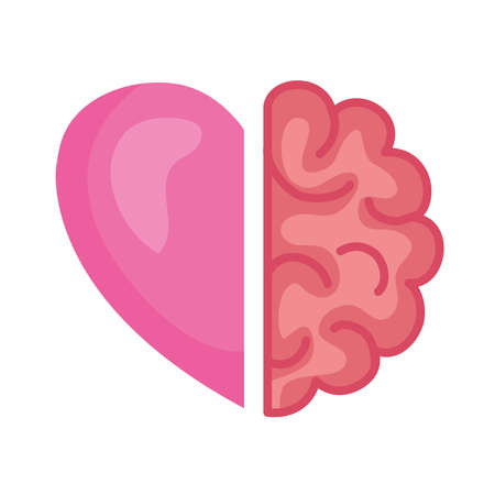 half brain and heart, conflict between emotions and rational thinking vector illustration design