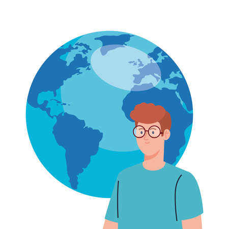 young man using eyeglasses with world planet on white background vector illustration design