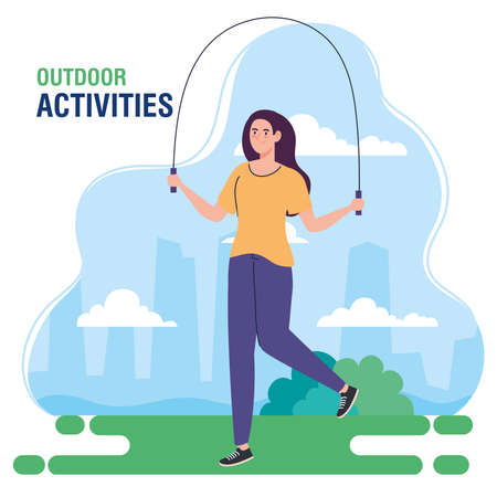 banner, woman performing leisure outdoor activities, woman jumping rope vector illustration design
