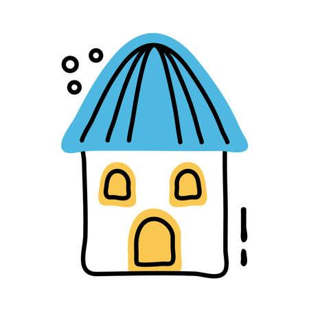 beach hut facade line and fill style vector illustration design