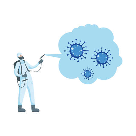 Man with protective suit spraying covid 19 virus design, Disinfection service and clean theme Vector illustration