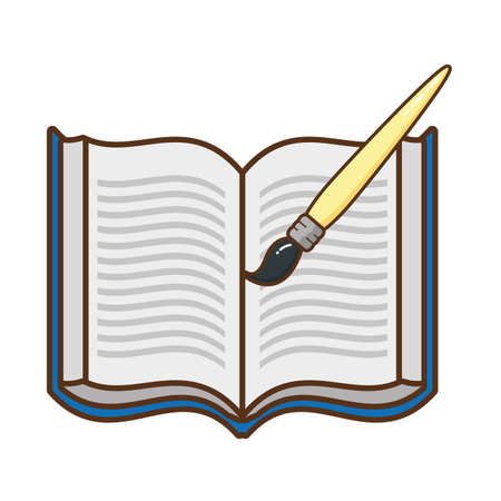 open book with brush isolated icon vector illustration design
