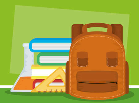 back to school card with schoolbag and pile books vector illustration design Stock Illustratie