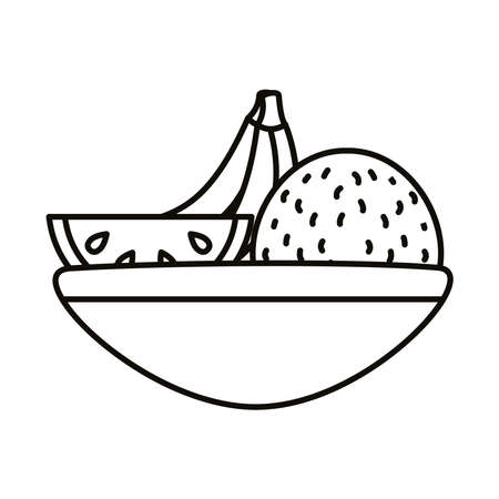 bowl with fruits line style icon vector illustration design