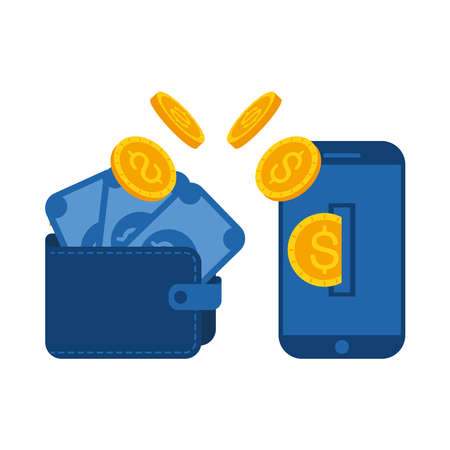 wallet with bills coins and smartphone of Online payments money and ecommerce theme Vector illustration