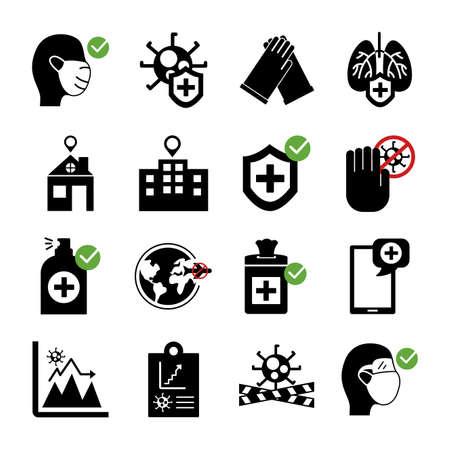 bundle of covid19 set icons vector illustration design Vetores
