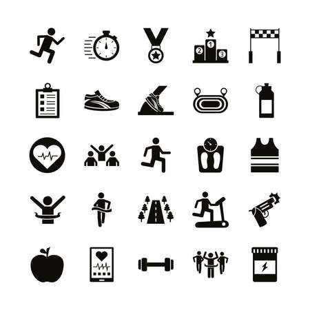 bundle of runners and tracks set icons vector illustration design