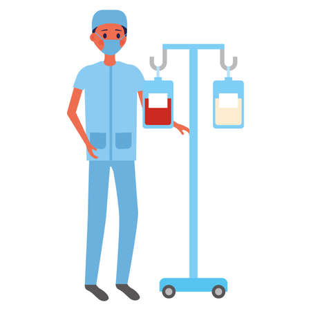 surgeon man with iv stand medical equipment vector illustration