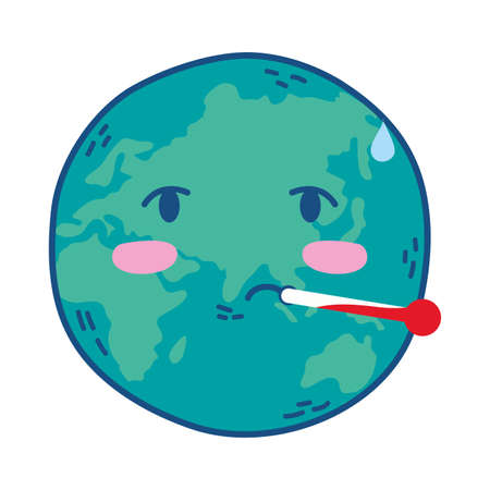 world planet earth with thermometer vector illustration design Ilustração